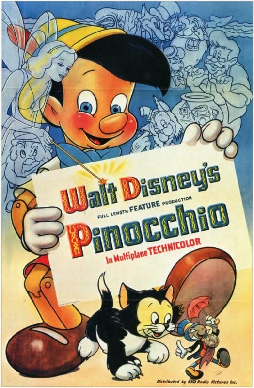 Una bella locandina del film d\'animazione Pinocchio
