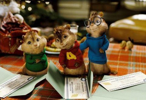 Theodore, Alvin e Simon in una scena del film Alvin Superstar