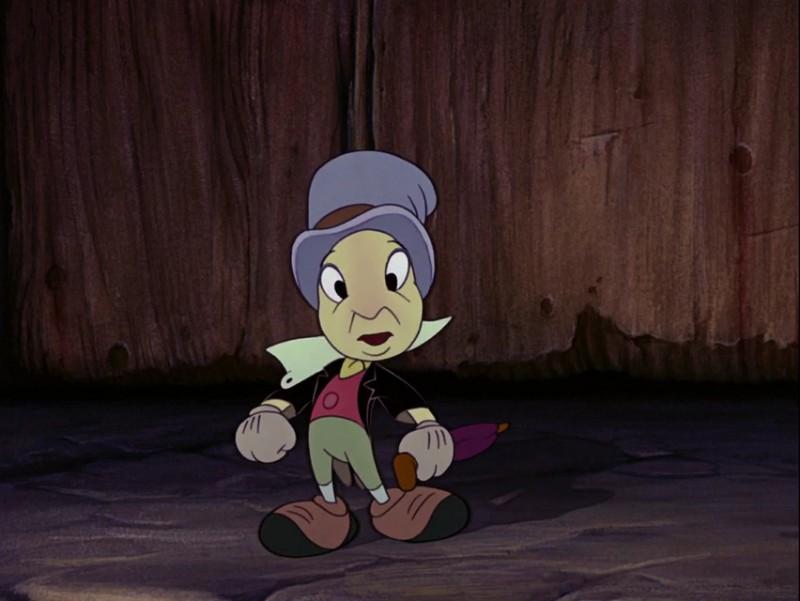 Il Grillo parlante in una scena del film d\'animazione Pinocchio ( 1940 )