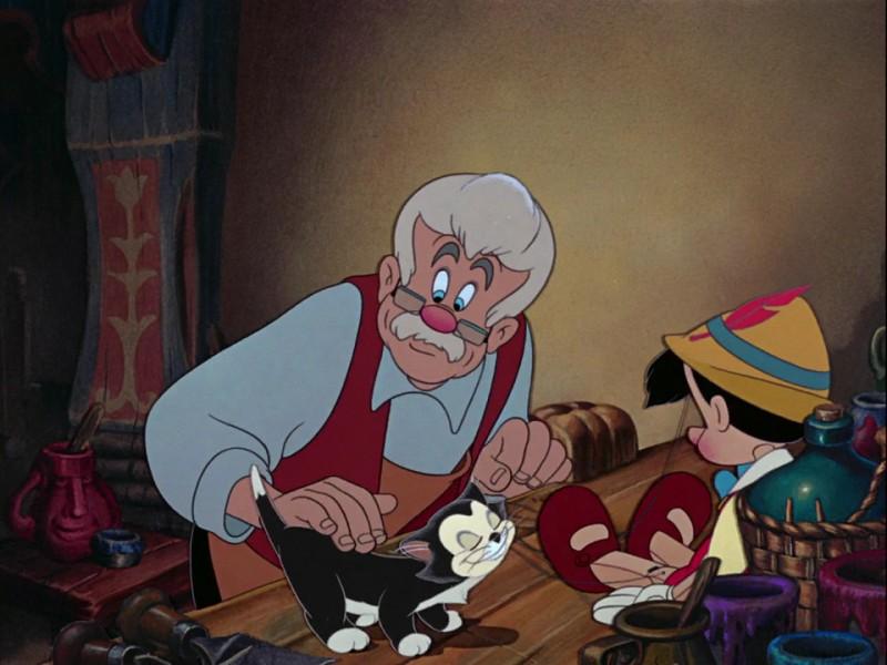 Il falegname Geppetto e il burattino in una scena del film d\'animazione Pinocchio