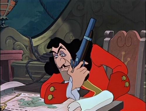Capitan Uncino in una scena del film d\'animazione Le avventure di Peter Pan ( 1953 )