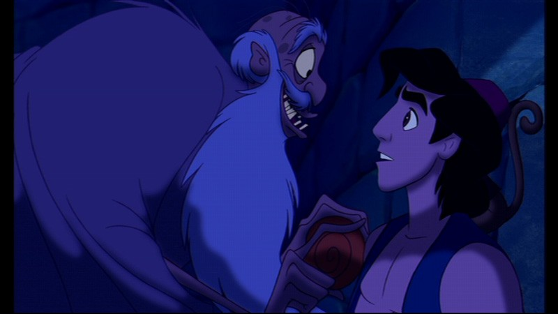Il protagonista e il gran visir Jafar in una scena del film d\'animazione Aladdin