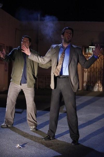 Greg Grunberg e Zachary Quinto in una scena di Shadowboxing tratta dalla quarta stagione di Heroes