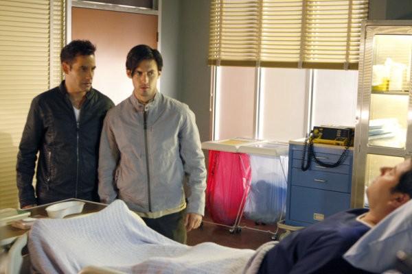 Milo Ventimiglia, Adrian Pasdar e Greg Grunberg in una scena di Brother's Keeper dalla quarta stagione di Heroes