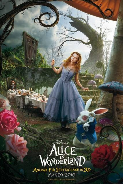 Poster Italiano - Alice In Wonderland - con la protagonista