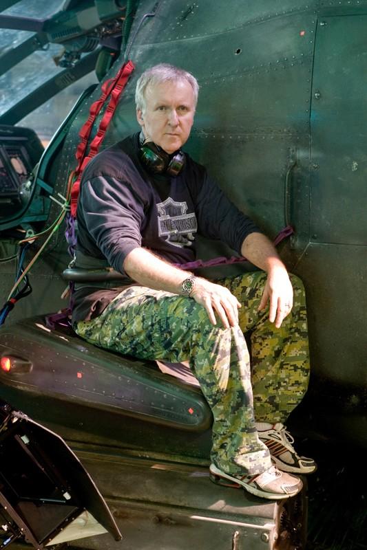 Il regista James Cameron sul set di Avatar
