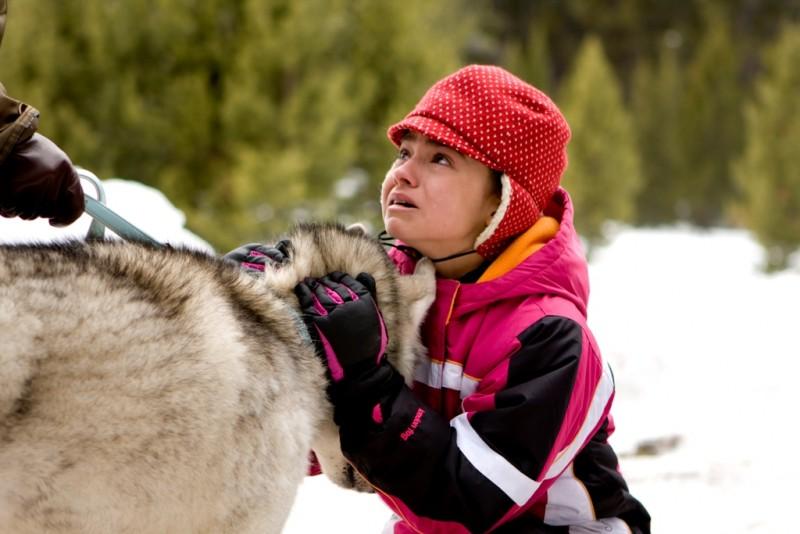 Ariel Gade e il cane Buck in una scena drammatica del film Il richiamo della foresta 3D