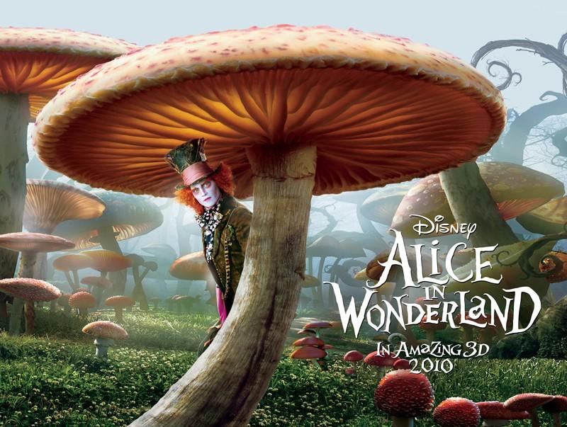 Un Poster orizzontale di Alice In Wonderland con Il Cappellaio Matto