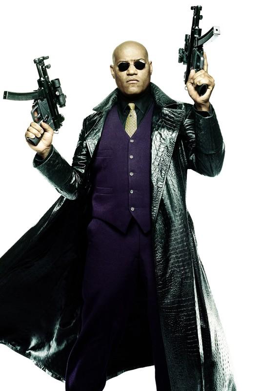 Un'immagine promozionale di Matrix Reloaded con Morpheus (Laurence Fishburne)