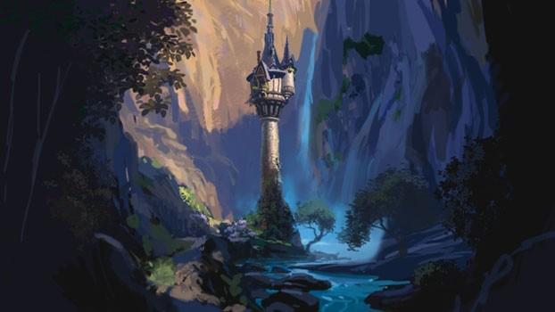 Un concept art per il film d\'animazione Raperonzolo (Rapunzel 2010)