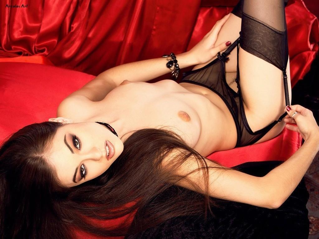 wallpaper: la pornostar Sasha Grey in lingerie nera