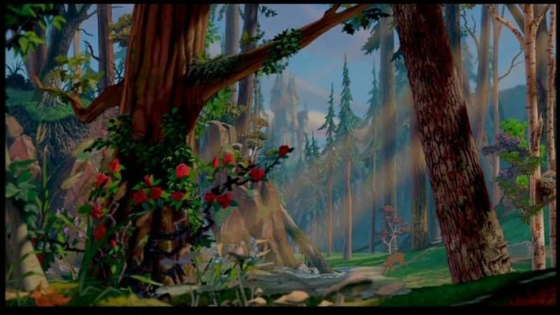 Una delle prime scene del film d'animazione La bella e la bestia