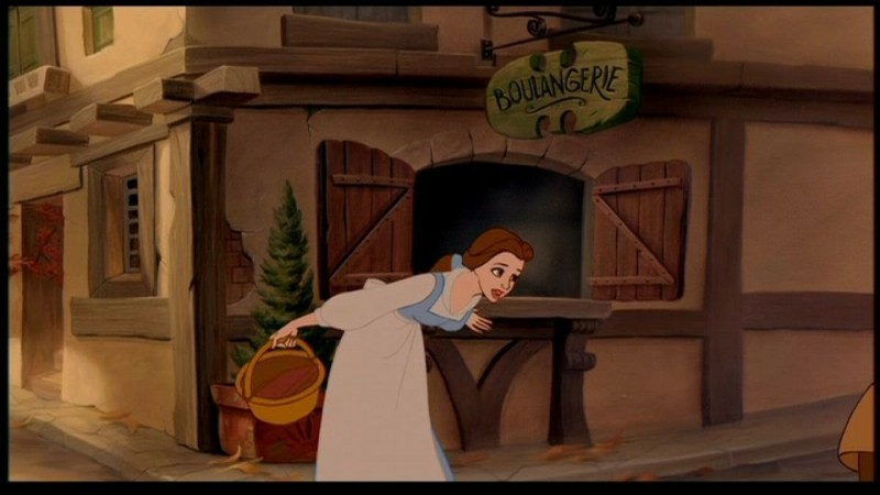 Belle in una scena del cartoon La bella e la bestia (1991)