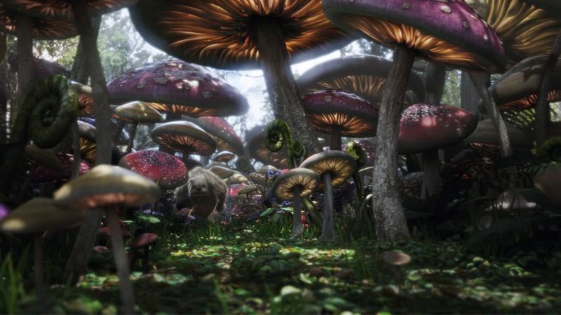 Un'immagine spettacolare tratta da Alice in Wonderland, adattamento della fiaba di Lewis Carroll diretto da Tim Burton