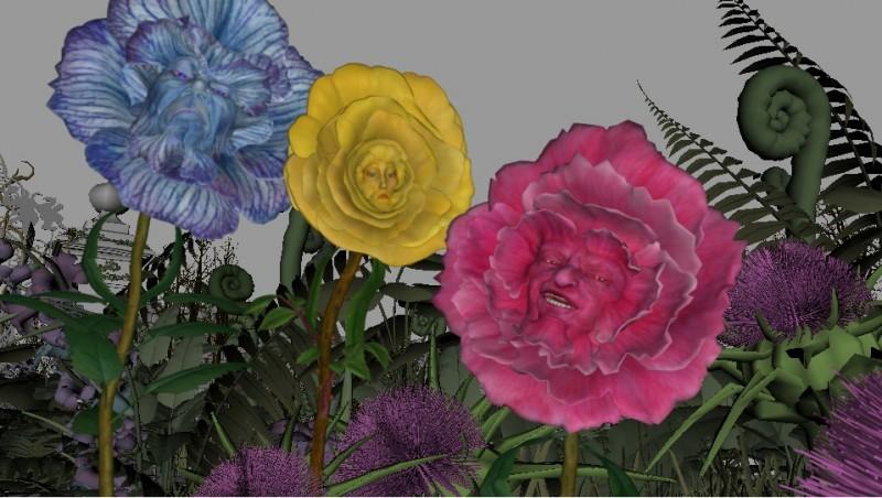 L'immagine digitale dei Fiori Parlanti da Alice in Wonderland, diretto da Tim Burton