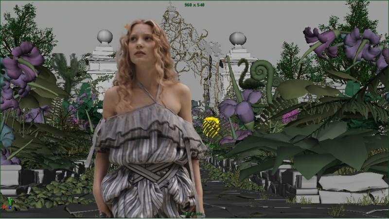 La seconda immagine di Mia Wasikowska con l'ambientazione digitale tratta dal film Alice in Wonderland