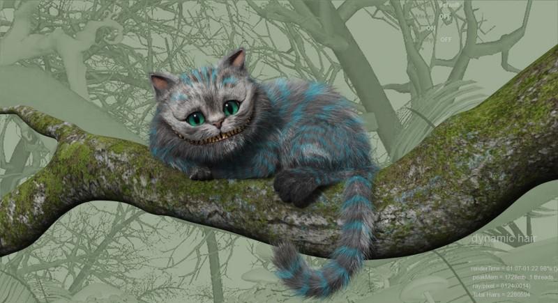 La terza immagine in progression caption dello Stregatto di Alice in Wonderland di Tim Burton
