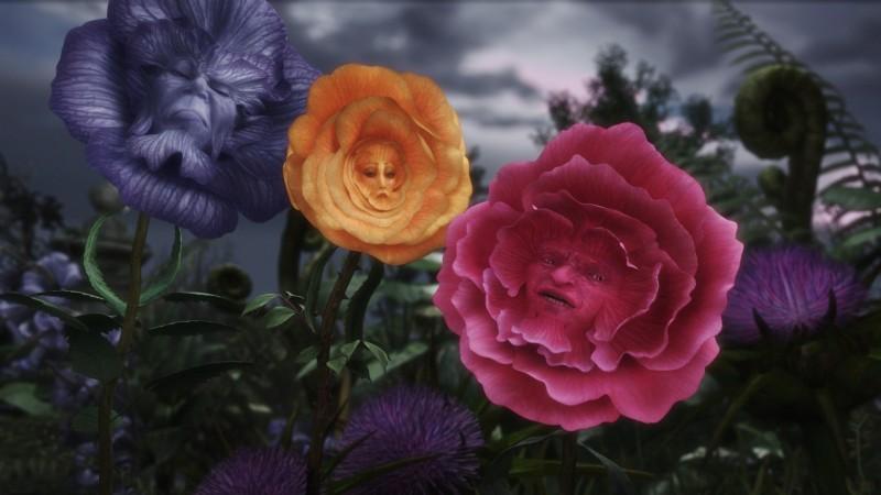 L'immagine finale dei Fiori Parlanti da Alice in Wonderland, diretto da Tim Burton