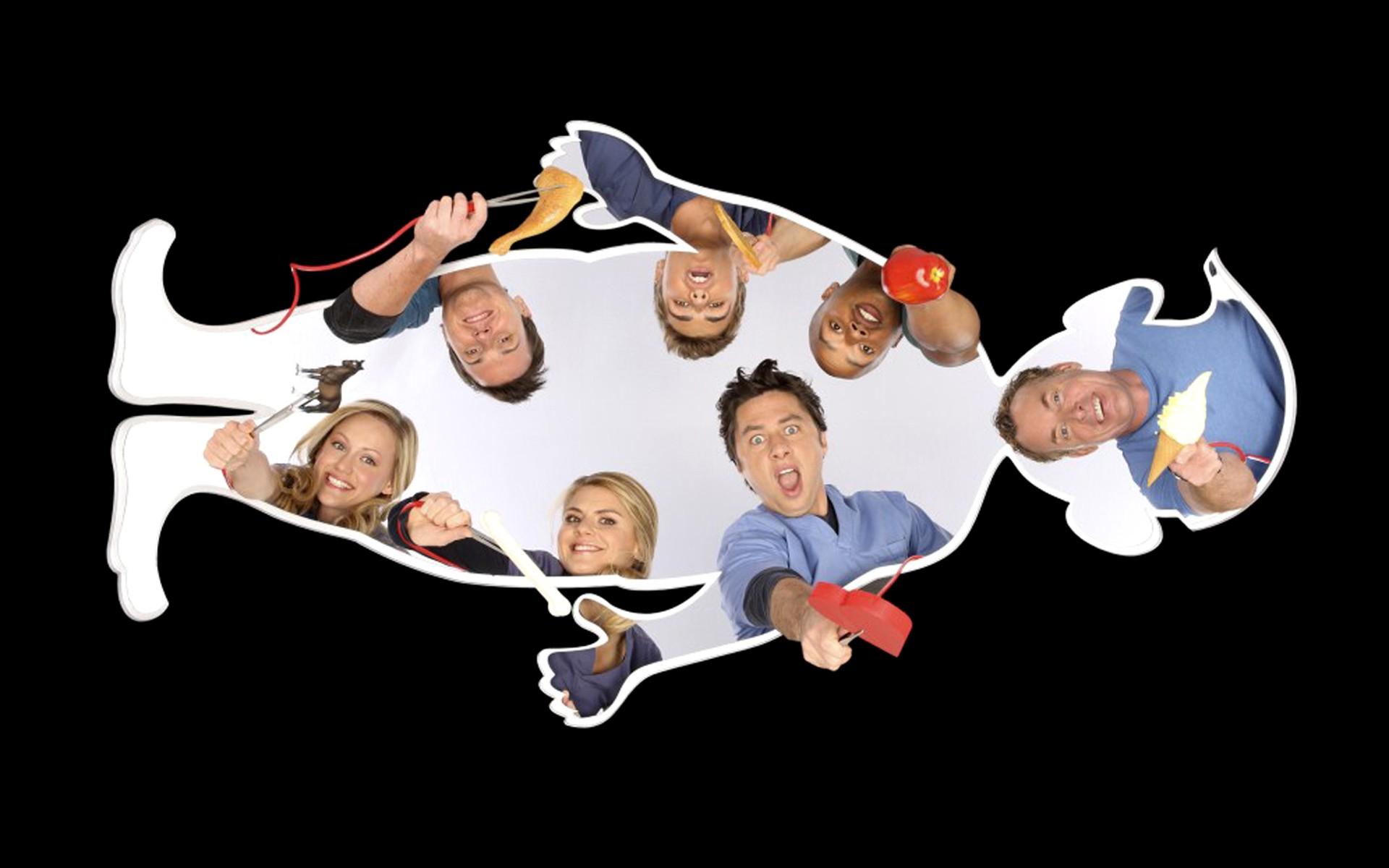 Wallpaper: il cast della nona stagione di Scrubs in stile 'Allegro Chirurgo'