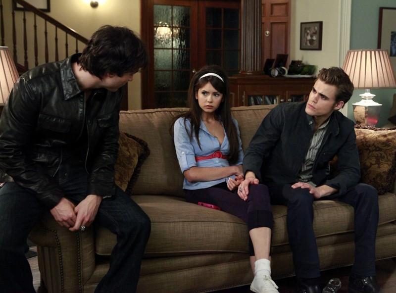Ian Somerhalder, Nina Dobrev e Paul Wesley nell'episodio Unpleasantville di The Vampire Diaries