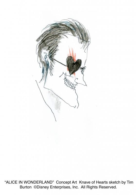 Alice in Wonderland: concept art realizzato da Tim Burton per il personaggio di Knave of Hearts