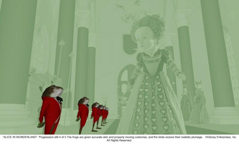 Alice in Wonderland: quarto 'progression still' che illustra lo sviluppo di una scena nella quale appare Helena Bonham Carter