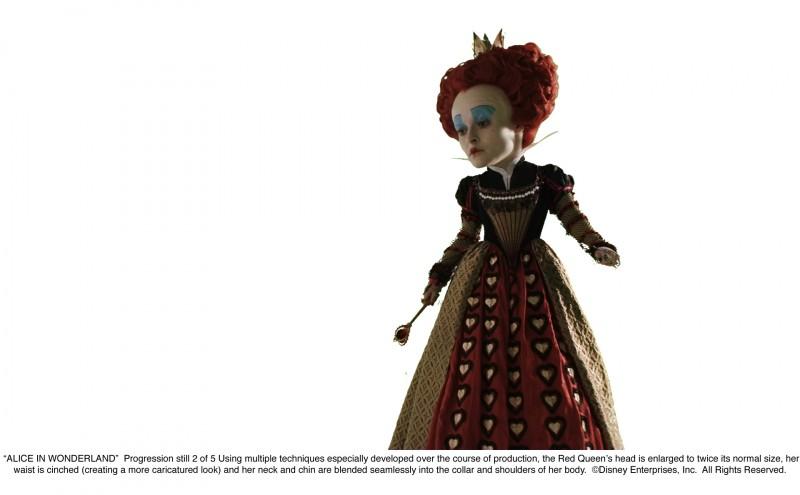 Alice in Wonderland: secondo 'progression still' che illustra lo sviluppo di una scena nella quale appare Helena Bonham Carter