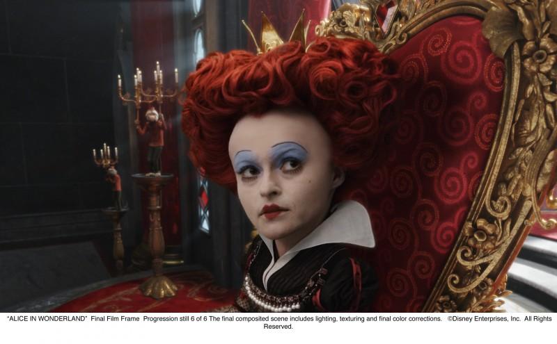 Alice in Wonderland: sesto 'progression still' che illustra lo sviluppo di una sequenza nella quale appare Helena Bonham Carter