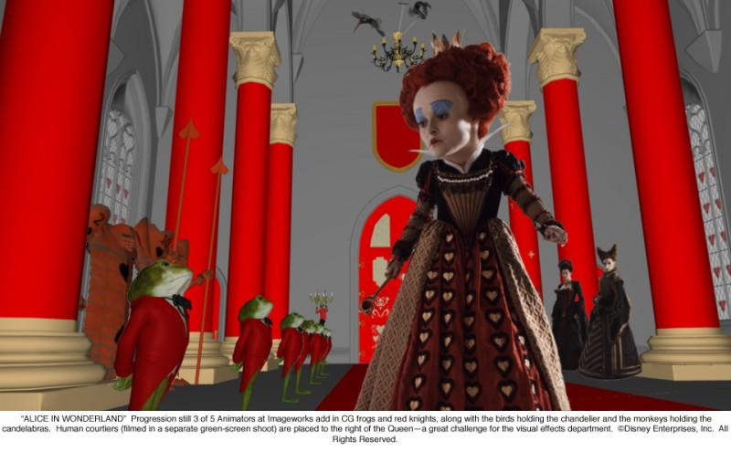 Alice in Wonderland: terzo 'progression still' che illustra lo sviluppo di una scena nella quale appare Helena Bonham Carter