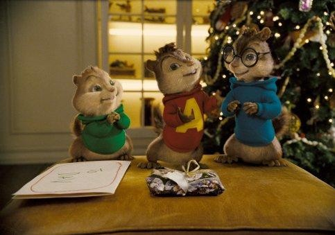 Alvin, Theodore e Simon in un'immagine del film Alvin Superstar 2