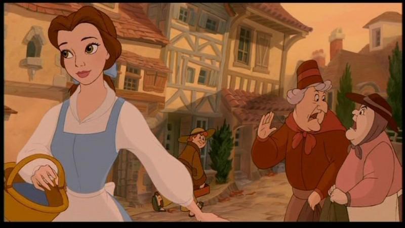 Belle in una scena del film animato la bella e bestia