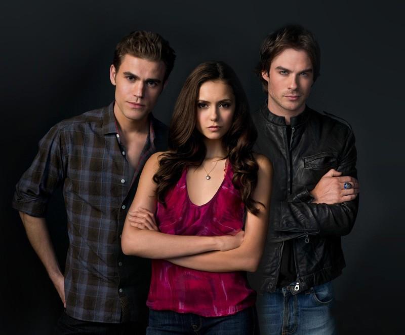 I tre giovani protagonisti: Ian Somerhalder, Nina Dobrev e Paul Wesley per la prima stagione di The Vampire Diaries