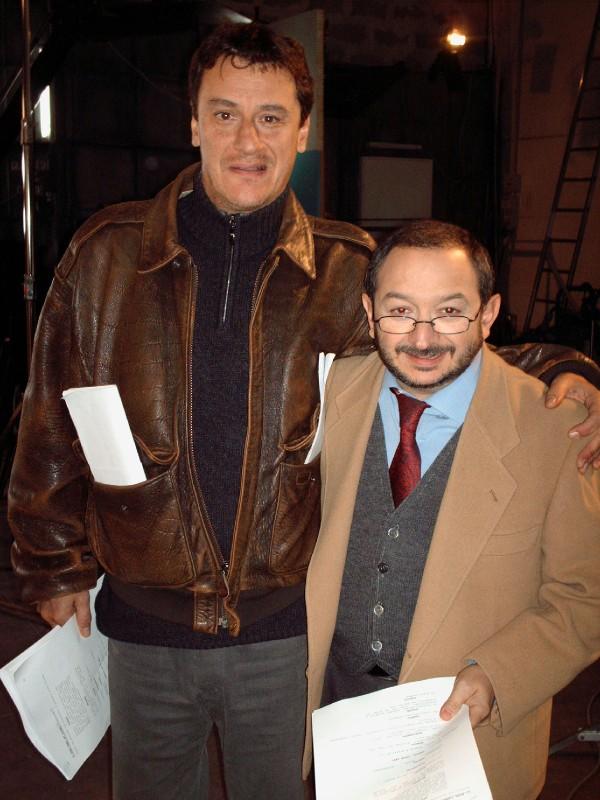Orfeo Orlando e Giorgio Tirabassi durante una pausa della prima stagione di Boris