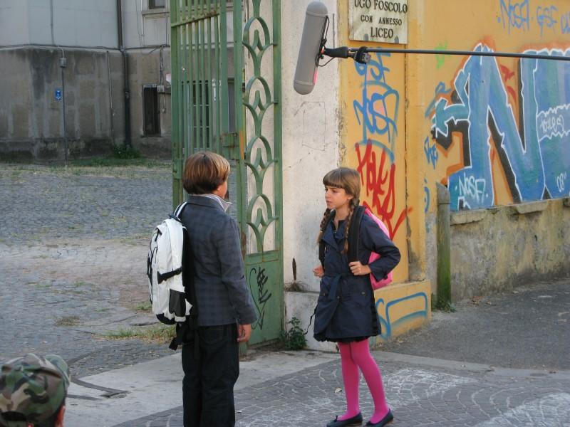 Angelica Cinquantini con Brando Pacitto sul set de I Cesaroni 3