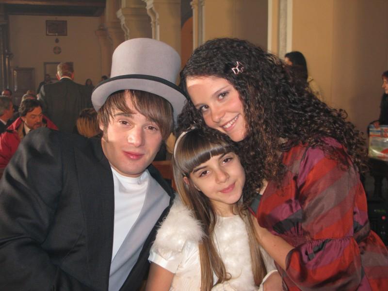 Angelica Cinquantini con Ludovico Fremont e Giulia Luzi sul set de I Cesaroni 3