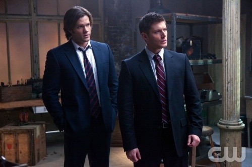 Supernatural: Jared Padalecki e Jensen Ackles in una scena dell'episodio My Bloody Valentine