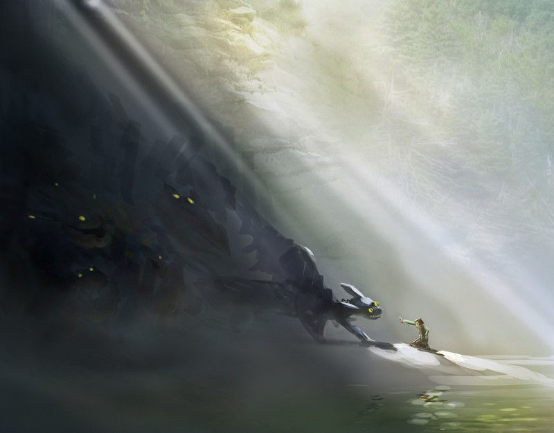 Un concept art del film How to Train Your Dragon