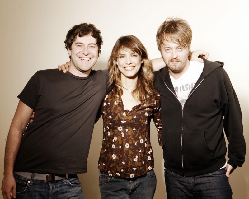 Mark Duplass, Lynn Shelton e Joshua Leonard sul set del film Humpday