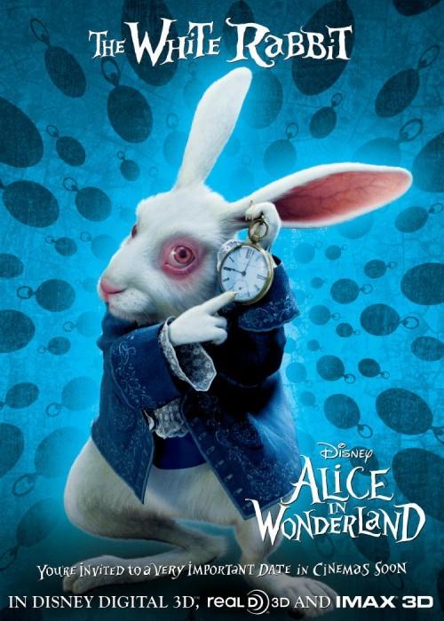 Character Poster Inglese con Il Coniglio Bianco - Alice In Wonderland