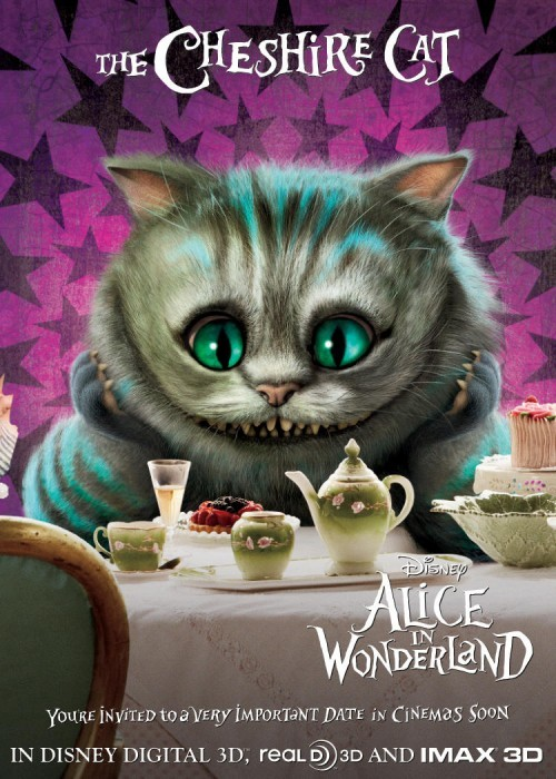 Character Poster Inglese con lo Stregatto - Alice In Wonderland