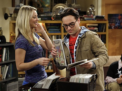 Johnny Galecki e Kaley Cuoco nell'episodio The Excelsior Acquisition di The Big Bang Theory