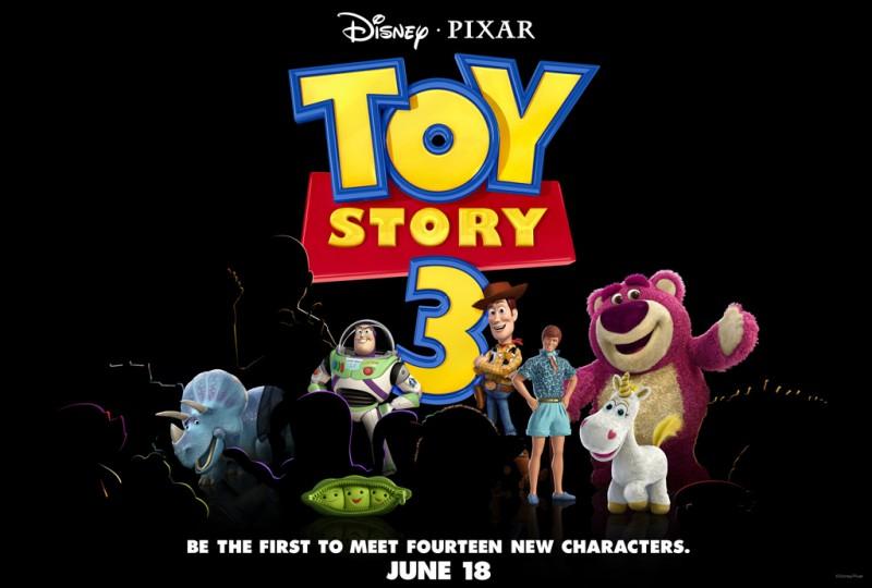 Teaser promozionale dei protagonisti di Toy Story 3 con Buzz, Woody, Ken, Lotso, Peas, Cono di Panna e Trixie