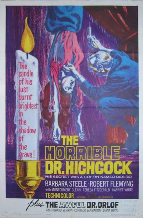 Locandina statunitense del film L\'orribile segreto del dottor Hichcock