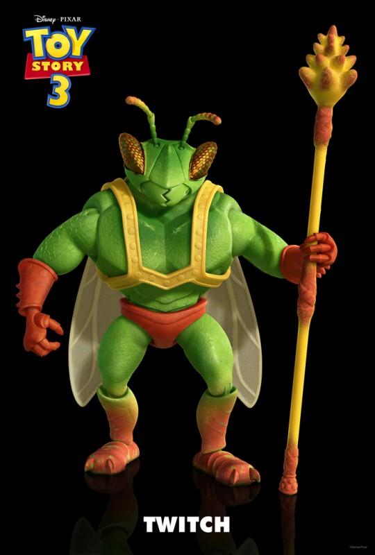 Un'immagine di Twitch, guerriero metà uomo e metà insetto, incredibile personaggio del film Toy Story 3