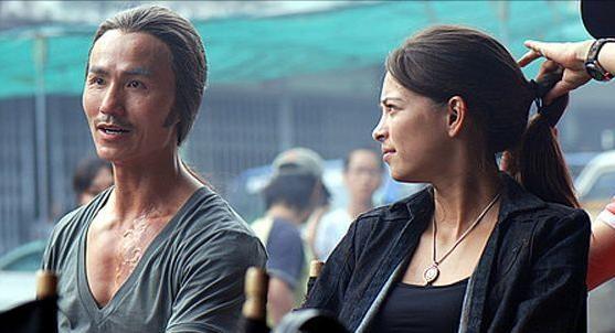 Kristin Kreuk e Robin Shou sul set del film Street Fighter: The Legend of Chun-Li