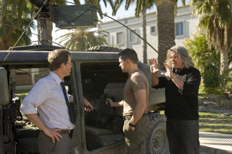 Matt Damon, Greg Kinnear e Paul Greengrass sul set del film Green Zone