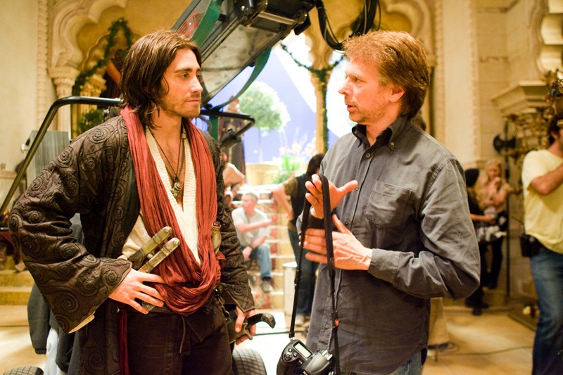 Jake Gyllenhaal e il produttore Jerry Bruckheimer sul set di Prince of Persia: The Sands of Time