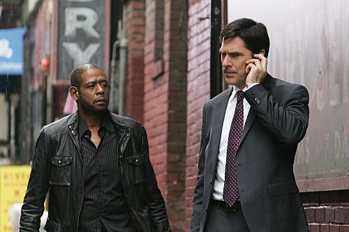 La guest star Forest Whitaker e Thomas Gibson in una scena dell'episodio The Fight di Criminal Minds