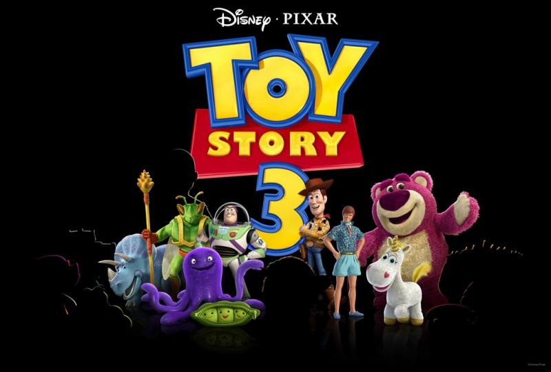 Teaser promozionale dei protagonisti di Toy Story 3 con Trixie, Twitch, Buzz, Woody, Ken, Lotso, Stretch, Peas e Cono di Panna