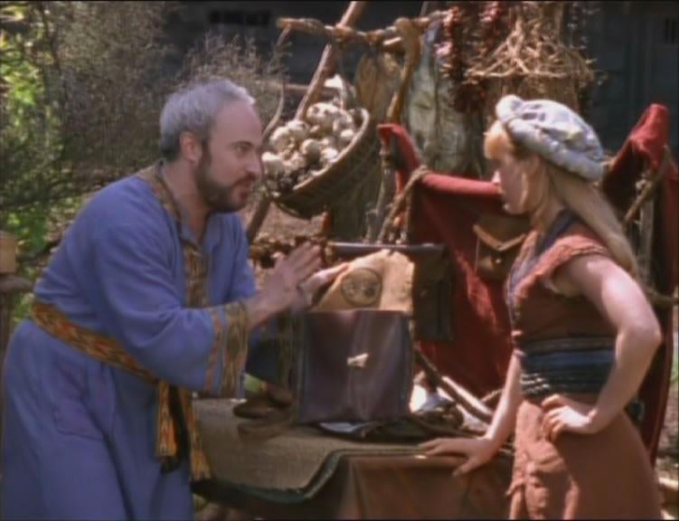 Renee O\'Connor e Robert Trebor in The Black Wolf, episodio di Xena